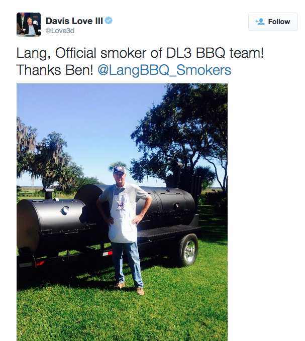 Davis Love III tweeting about Lang - the official smoker of the DL3 BBQ Team